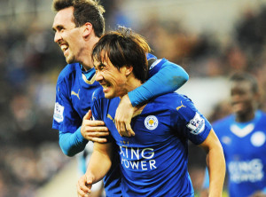 ‰ªèTŽi/Shinji Okazaki (Leicester), NOVEMBER 21, 2015 - Football / Soccer : Shinji Okazaki of Leicester City celebrates scoring their third goal during the Barclays Premier League match between Newcastle United 0-3 Leicester City at St James' Park in Newcastle, England. (Photo by AFLO)